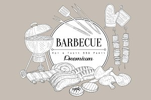 Barbecue Party Vintage Vector