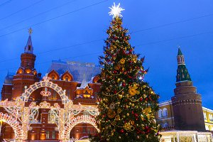 Russia Moscow Kremlin and Christmas decorations