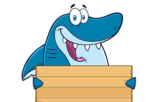 Shark Holding A Wooden Blank Sign