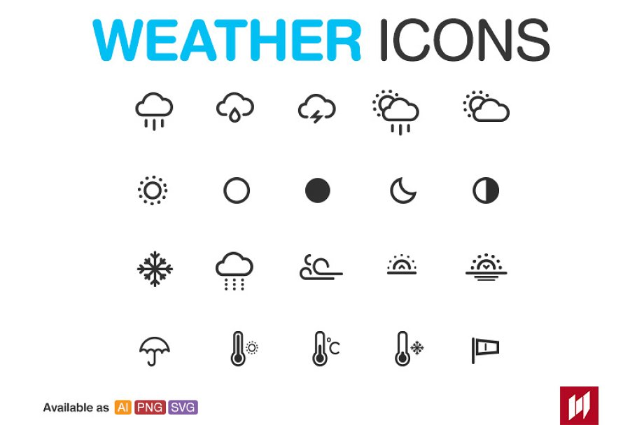 Weather icon pack [vector, svg, png] ~ Creative Daddy