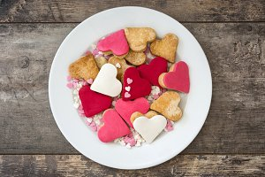 Cookies with heart shape on a plate