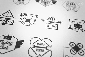 Drones Vector Badges Logos