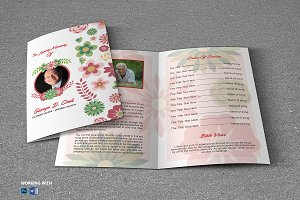 Flower Funeral Program Template