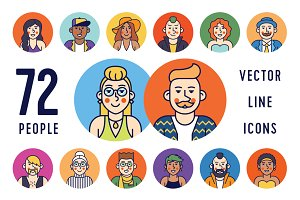 People avatars 72 line icons