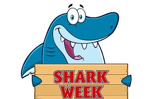 Blue Shark Holding A Wooden Sign