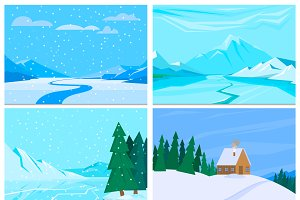 Winter background vector set