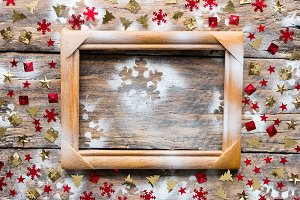 frame and christmas decorations