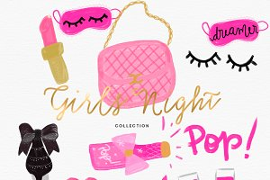 Girls Night Fashion Clipart Set5