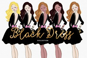 Fashion Girl Clipart Set Black Dress