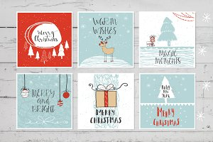 6 hand drawn Christmas cards