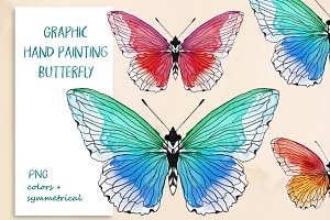 Graphic hand painting butterfly