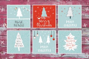 6 Christmas cards with lettering
