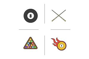 Billiard. 4 icons. Vector