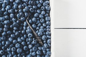blueberries and spoon vintage