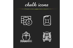 Oil transportation. 4 icons. Vector