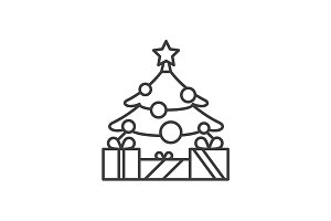 New Year tree icon. Vector