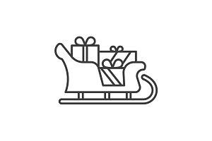Santa Claus sleigh icon. Vector