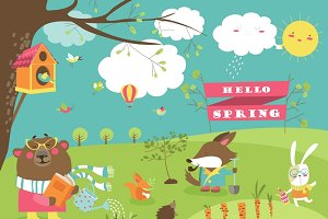 Cartoon animals in spring forest