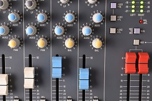 Close up sound mixer top view