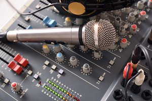 Recording equipment in studio
