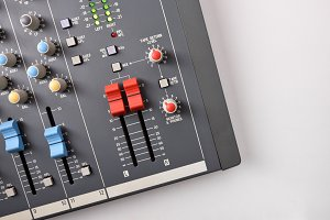 sound mixer top view on white table