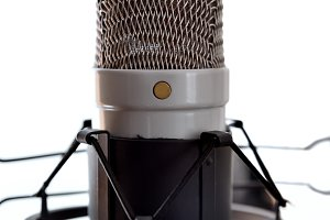 Studio mic and equipment front white