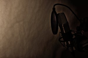 Studio mic and equipment shade