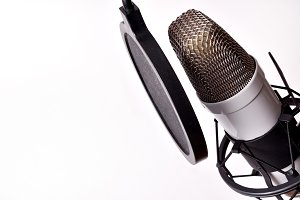 Studio mic and equipment isolated
