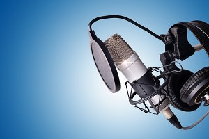 Studio mic and equipment blue