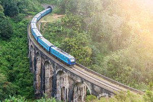 Train goes over bridge