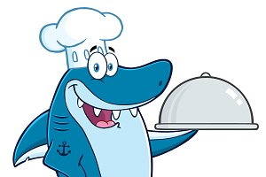 Chef Blue Shark Cartoon Character
