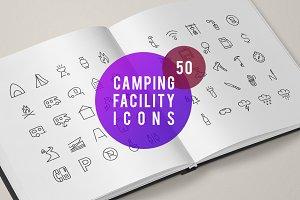 50 Camping Facility Icons