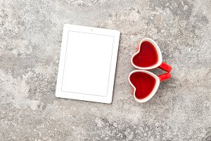 Tablet PC Red Heart Tea Cups JPG