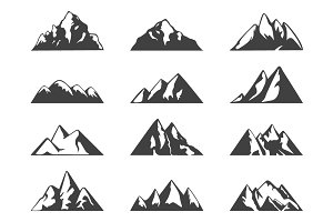 Mountain design elements and badges.