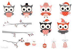 Winter owls clipart in red and grey