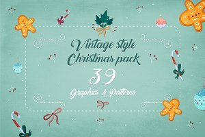 Christmas Vintage graphics pack