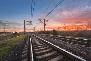 Railroad at sunset. Railway station