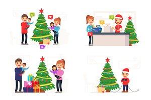 BIG SET - Winter illustration. Xmas