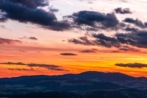 Sunset in the hills of Austria