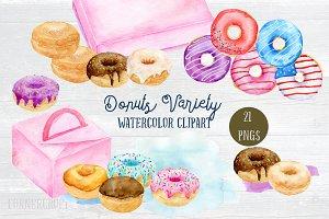 Watercolor Clip Art donut Variety