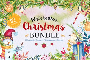 Mega Watercolor Christmas Bundle