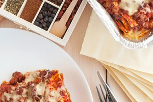 traditional italian lasagna with minced beef bolognese sauce