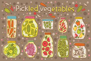 Pickled vegetables. Seamless pattern