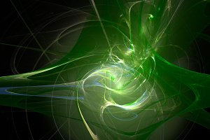 Colorful green curves abstract 3d background