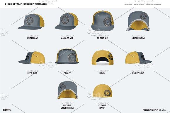 2c4baac8 Flat Peak Cap Photoshop Template ~ Product Mockups ~ Creative Market