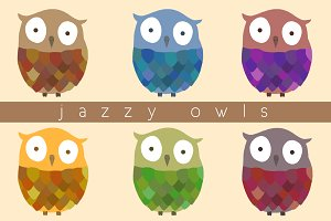 Hand Drawn Jazzy Owls Pack