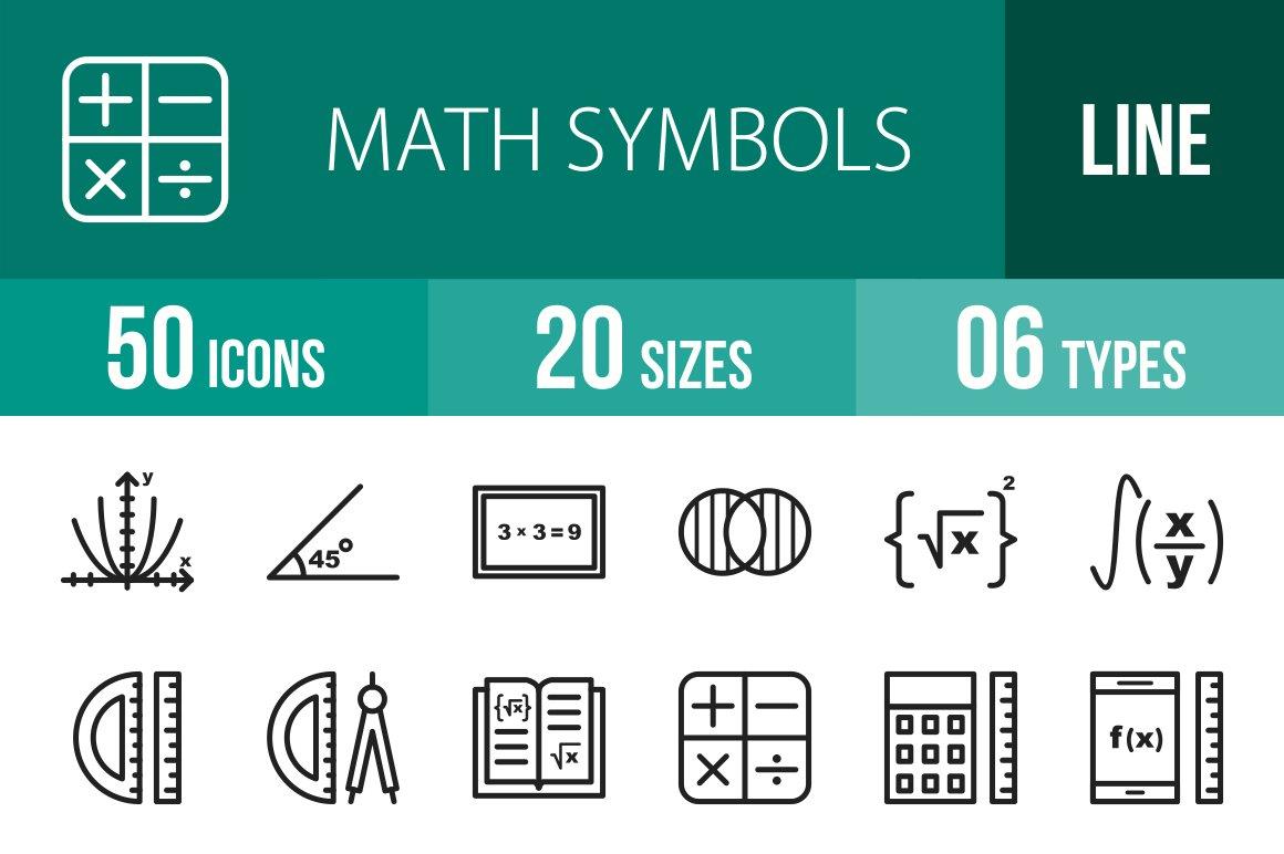 50 Math Symbols Line Icons Icons Creative Market