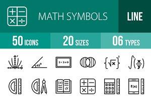 50 Math Symbols Line Icons