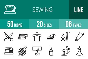 50 Sewing Line Icons