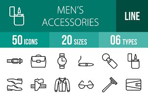 50 Men's Items Line Icons